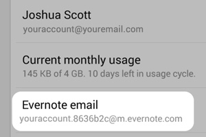 Forward emails to Evernote