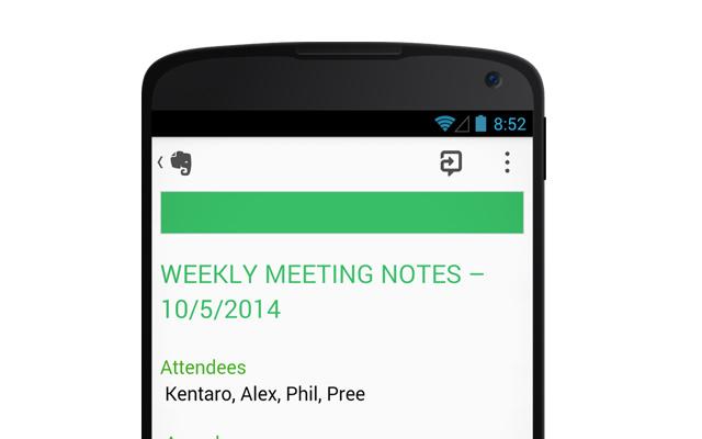 Android Smartphone mit einer Beispielnotiz