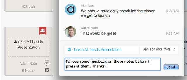 Screenshot of notebook shared in Work Chat