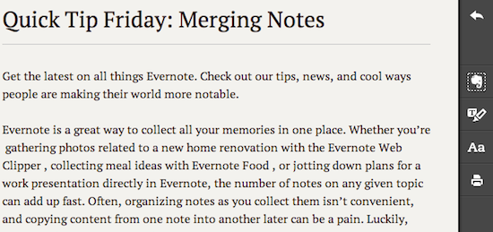 Evernote Clearly toolbar