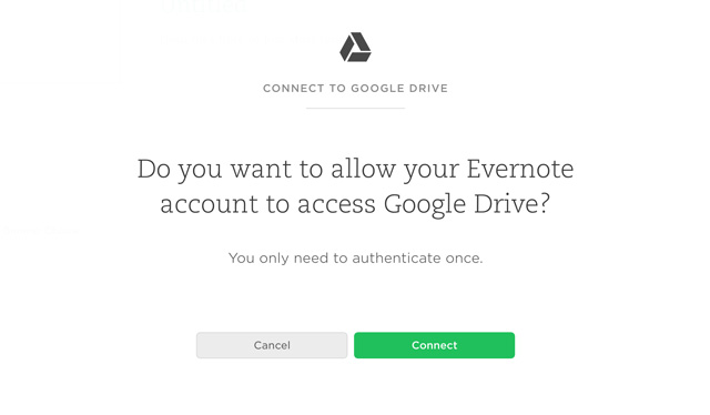 Permission to connect Google Drive and Evernote