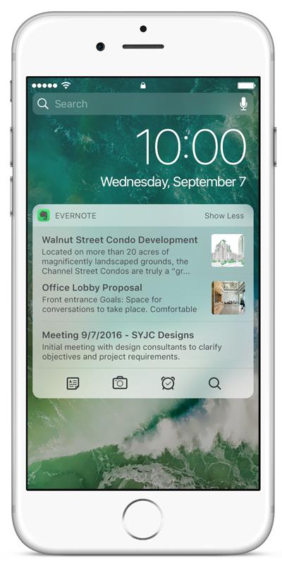 iPhone上的Evernote通知中心插件