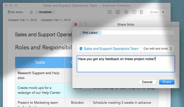 Gib Notizen frei und arbeite über den Work Chat mit Anderen zusammen