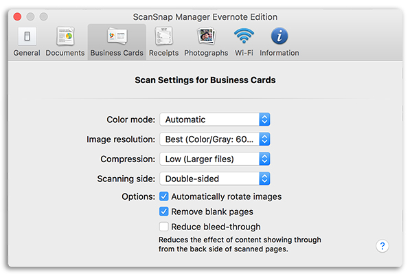 ScanSnap Manager software中的名片扫描选项