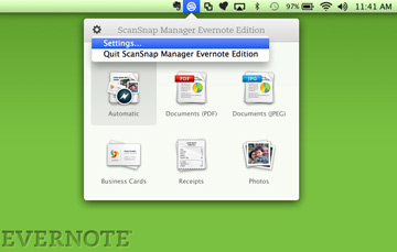 Менеджер ScanSnap Evernote