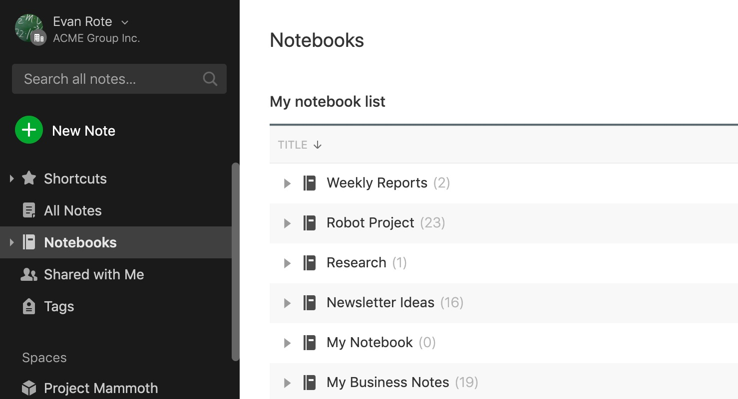 Organize with notebooks